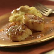 Sea Scallops With Orange Parsnip Puree And Wisconsin Gran Queso