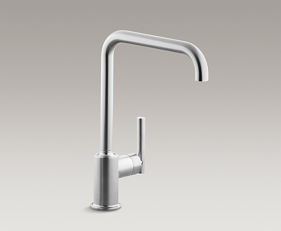 cp faucets handle kohler polished faucet sprayer p chrome k purist in single kitchen pull out