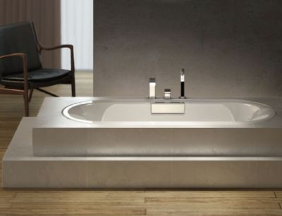 Volute 1.6m Drop-in Cast Iron Bath Round End