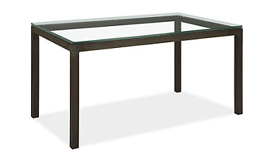 Parsons parsons table by the inch dining tables by the for Glass top dining table 36 x 60