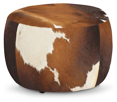 Lind Modern Cowhide Round Ottomans Modern Fabric
