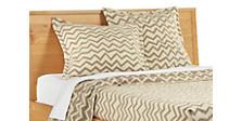 Jacquard Wool Zig-Zag Euro Sham in Ivory/Taupe