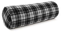 Wool Grey Plaid Bolster Pillow