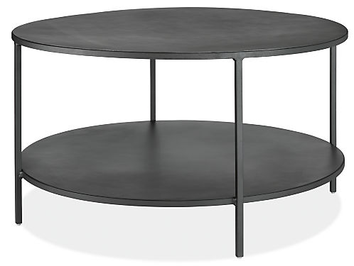 Slim round cocktail table in natural steel modern for Narrow cocktail table