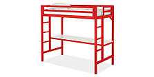 Lark Loft Bed in Red with White Desk
