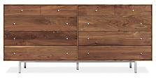 Hudson 72w 20d 34h Ten-Drawer Dresser in Walnut with Stainless Steel