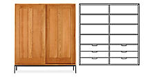 Linear Anywhere Armoire with Six Drawers in Cherry with Natural Steel