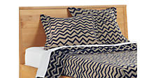 Jacquard Wool Zig-Zag Euro Sham in Taupe/Ink