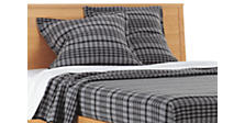 Washable Wool Euro Sham in Grey Plaid