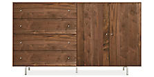 Hudson 86w 16d 50h Cabinet in Walnut with Stainless Steel
