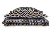 Jacquard Wool Zig-zag Taupe/Ink Blanket & Sham