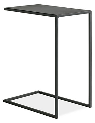 Slim c table in natural steel modern end tables modern for Slim side table