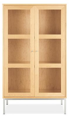 Delano modern glass door cabinet modern cabinets armoires modern living room furniture for Glass door cabinets living room
