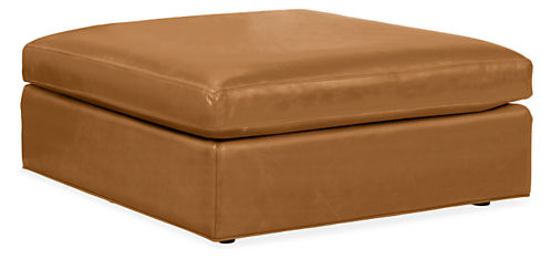 Rollover to ZoomView Larger - Harding Leather Ottomans - Modern Fabric & Leather Ottomans
