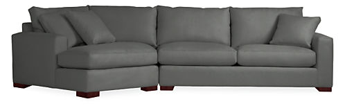 Metro sofa with angled chaise modern sectionals modern for Angled chaise sofa
