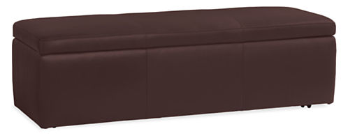 Rollover to ZoomView Larger - Tyler Modern Leather Storage Ottomans - Modern Benches & Stools