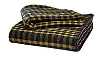 Washable Wool Mustard/Charcoal Plaid Blanket & Sham