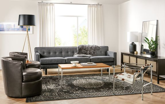 André Sofa And Otis Swivel Chairs Living Room - Modern Living Room