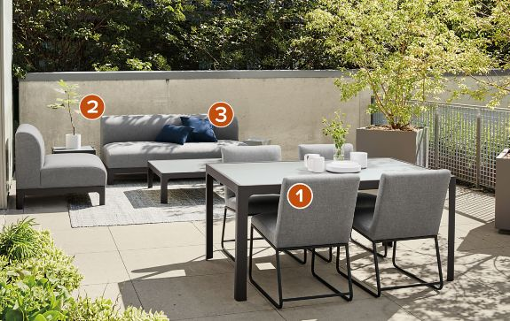 Crescent Collection in Slate and Graphite Modern Outdoor