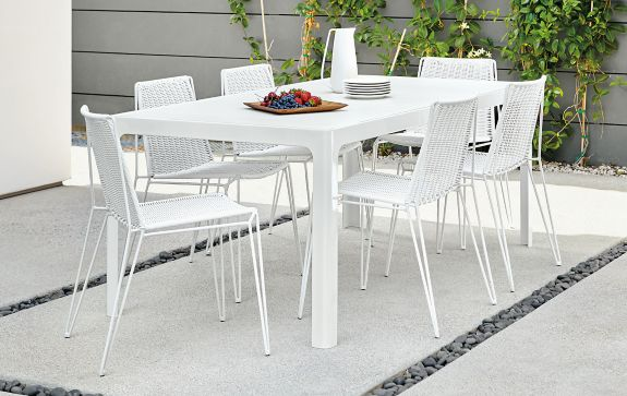Crescent Table with Penelope Chairs Modern Outdoor