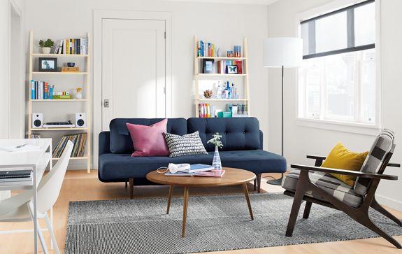Deco Convertible Sleeper Sofa in Ula Ink Modern Living Room