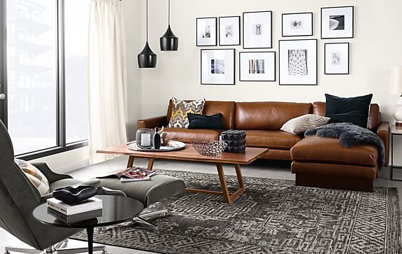 hess sofa with chaise in lecco leather modern living. Black Bedroom Furniture Sets. Home Design Ideas