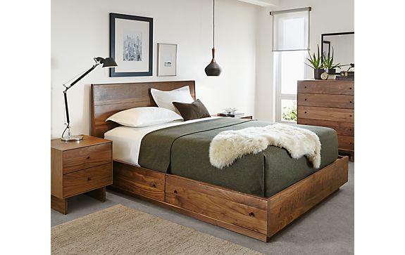 hudson storage collection in walnut modern bedroom furniture room board. Black Bedroom Furniture Sets. Home Design Ideas