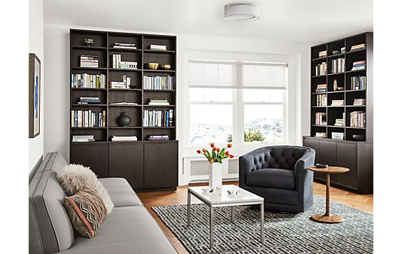 Keaton Custom Bookcases in Charcoal Stain - Keaton Custom Bookcases In Charcoal Stain - Modern Living Room