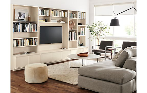 Keaton bookcases living room modern living room for Living room bookcases