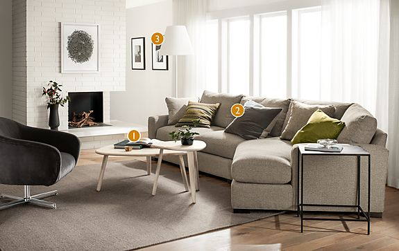 Metro Sofa with Right-Arm Angled Chaise - Modern Living Room ...
