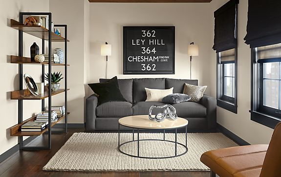 Metro Sofa In Charcoal With Natural Steel Accents Modern Living Room Furniture Room Board
