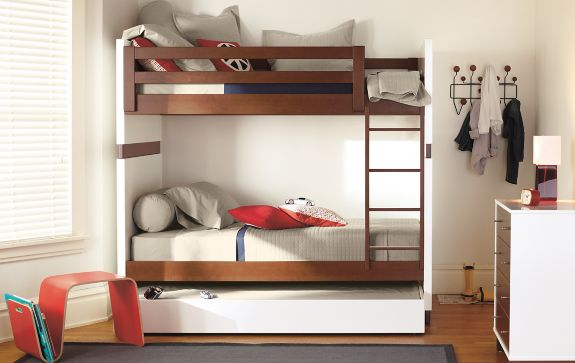 Moda Bunk Bed in Mocha Modern Kids Furniture Room & Board