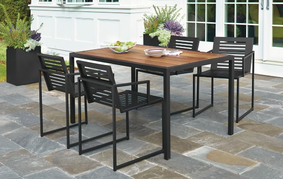 Montego Table & Cruz Chairs in Graphite Modern Outdoor