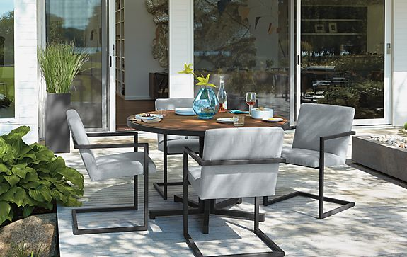Montego Table And Finn Chairs In Graphite Modern Outdoor Furniture Room Board