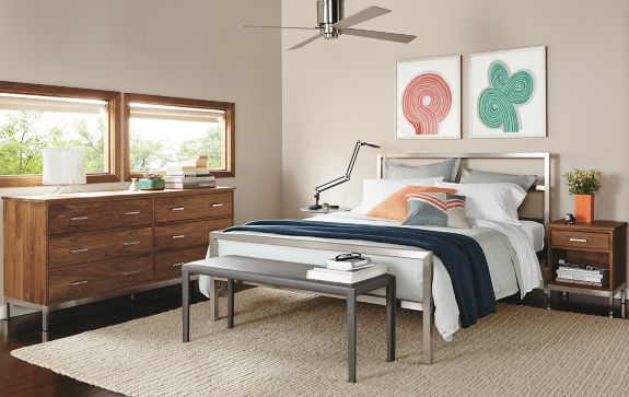 Portica Bed with Linear Collection in Walnut Modern