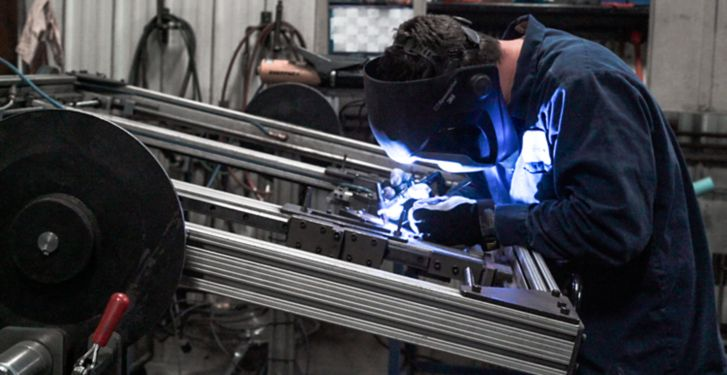Metalworkers use traditional hand welding techniques in combination with machinery built in house to create modern pieces