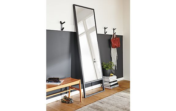 Soho natural steel leaning mirror where to hang mirrors for Leaning wall mirror