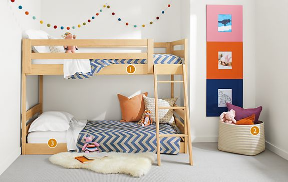 Waverly mini bunk bed modern kids furniture room board for Bedroom furniture for 8 year old boy