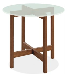 Nash 27r 24h End Table in Walnut  with Frosted Glass Top