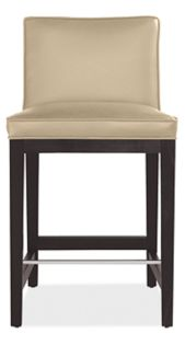 Ansel Low-Back Counter Stool in Lil Pearl Leather with Ebony Legs