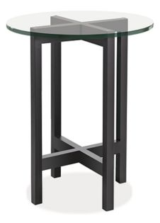 Nash 18r 22h End Table in Ebony with Glass Top