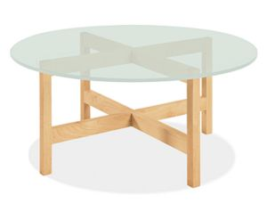 Nash 36r 16h Cocktail Table in Maple with Frosted Glass Top