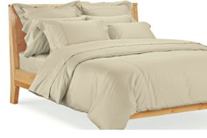 Sateen Tailored King Sham in Wheat