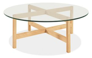 Nash 42r 16h Cocktail Table in Maple with Glass Top