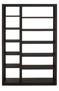 Woodwind 72h 48w Open Double Bookcase in Ebony