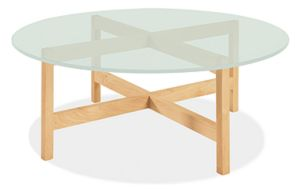 Nash 42r 16h Cocktail Table in Maple with Frosted Glass Top