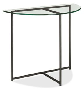 Classic 36x18 29h Half-Round Console Table in Natural Steel with Glass Top