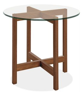 Nash 27r 24h End Table in Walnut with Glass Top