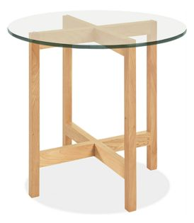 Nash 27r 24h End Table in Maple with Glass Top