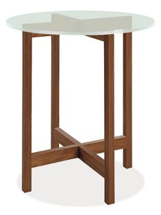 Nash 27r 29h End Table in Walnut  with Frosted Glass Top
